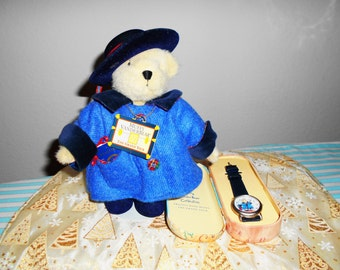 """North American Bear Muffy""""Grand Tour"""" with Her Travel Watch/Muffy is so Cute with Her Passport in Her Pocket for Traveling Around the World!"""