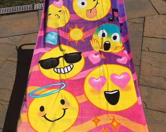 Smiley EMOJI  emojicon  Beach towel Personalized or Monogrammed Personalized Beach Towel