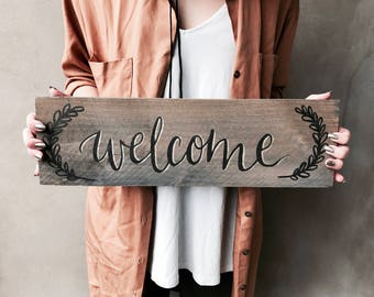 Rustic Wood Wreath Handlettered Metallic Accent Welcome Sign