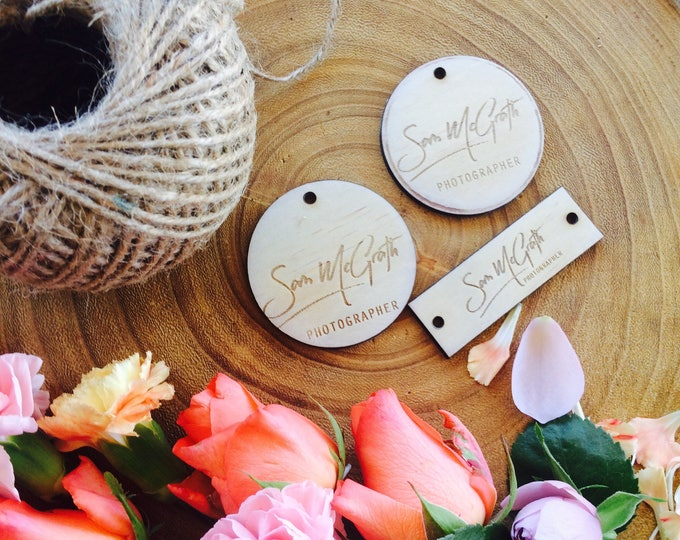 Wood tags with custom logo engraving