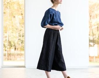 Linen - wool blend MIDI skirt -  pants / Black linen - wool blend skirt - pants / culottes