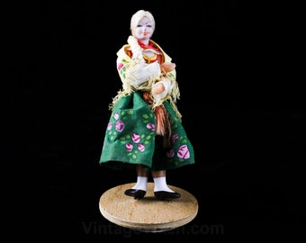 Hand Painted Doll on Stand - 1940s 1950s Peasant Girl in Green Roses Skirt with Shawl - Blond Braid Hair - Handmade in Poland Europe - 48123