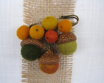 Handmade brooch with felted balls, natural acorn caps, 1-2cm felt balls