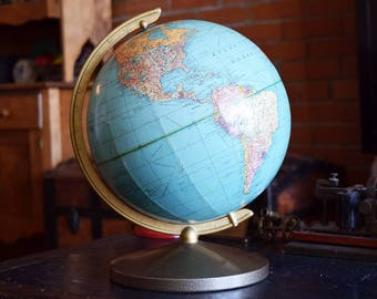"Poligraphic World Globe - 10"" - Hy-Press Bilt - Weber Costello - English Language - Vintage Office/Library Deco - Map of Earth"