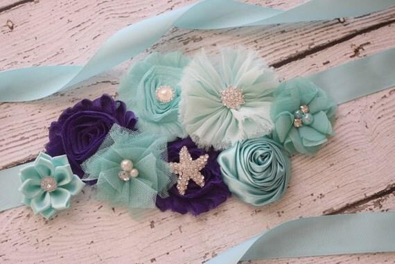 Sash, purple aqua  beach Sash , flower Belt, maternity sash, wedding sash, baby shower sash