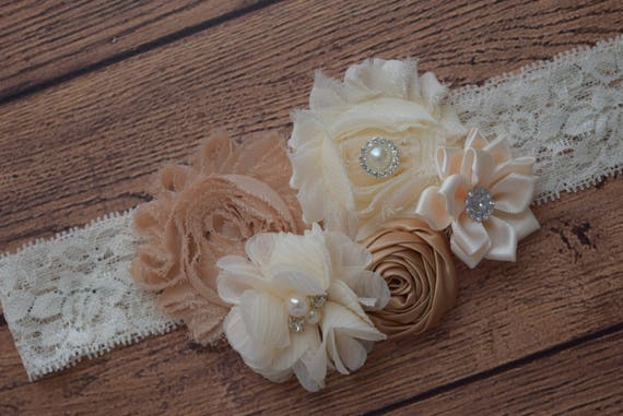 neutral cream tan headband, Shabby Flowers Baby Headband, Newborn Headband,  Infant Headband,Baby Headband, Headband Baby