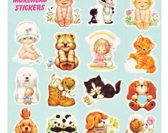Rare Vintage Morehead Baby Children Animal Stickers Sheet