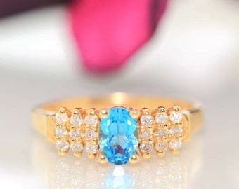 Estate 14k Yellow gold Natural Apatite & Diamond cluster solitaire ring band .73