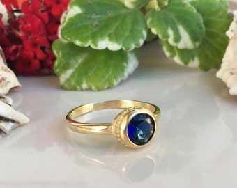 20% off- SALE!! Blue Sapphire ring - Slim Ring - Royal Blue Ring - September Birthstone - Simple Ring - Gold Ring - Bezel Ring - Round Ring