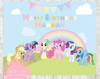 Custom Printable Pastel Rainbow My Little Pony Girl Party Bunting Birthday Backdrop Banner