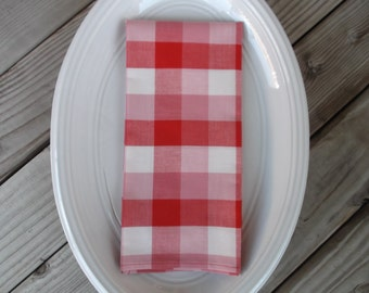 Red & white check fabric napkins, cotton napkins, handmade napkins, set of 4