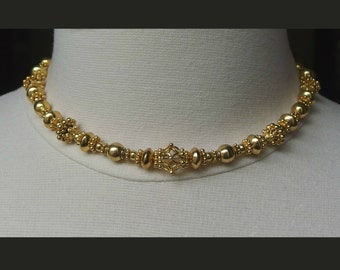 chunky gold choker necklace vermeil gold 24k beaded necklace gold everyday jewelry boho necklace Bali gold heavy necklace granulated floral