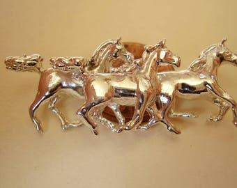 Galloping Horses Sterling Silver Brooch Pin