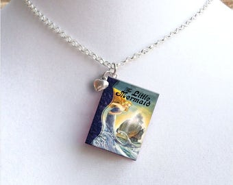 The Little Mermaid with Tiny Heart Charm - Miniature Book Necklace - Style 1