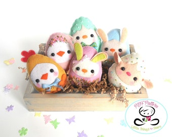 Baby Eggs PDF Pattern-Easter eggs sewing pattern-Egg animals-Easter ornaments-Baby shower favors-Easter toys-Spring animals