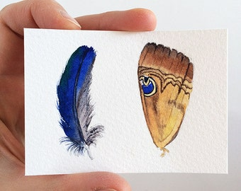Original ACEO Butterfly wing & blue feather painting - original watercolour miniature artwork 2.5x3.5 in - nature art - artist trading card