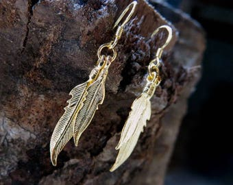 """gold-plated earrings """"Feathers"""""""