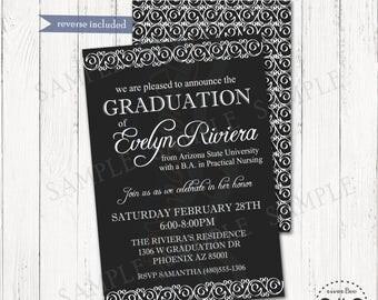 Elegant Graduation Announcement Printable  / Formal Elegant Black and White Invitation
