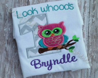 Look who's one, owl birthday shirt, first birthday owl, happy birthday, personalized birthday shirt, first birthday, owl applique