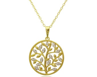 tree necklace, tree disc necklace