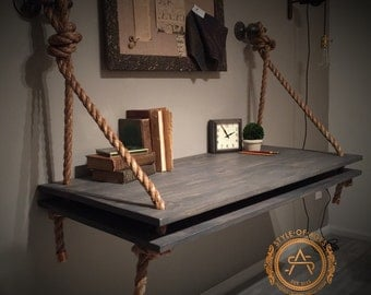2 LEVEL Rope & Pipe DESK Suspended Wood - Wall Mounted - Standing Computer Desk - Floating Industrial Hanging Shelf