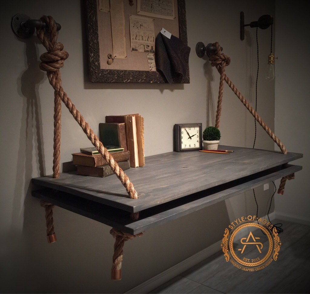 2 level rope pipe desk suspended wood wall mounted. Black Bedroom Furniture Sets. Home Design Ideas