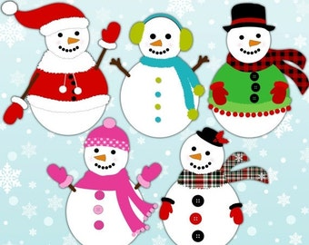 60% OFF SALE Snowman clipart, holiday clipart, digital clip art, commercial use, instant download - M417