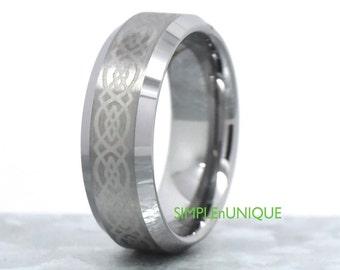 Promise Rings for Men,Celtic Wedding Rings,Mens Engagement Ring,Mens Tungsten Ring,Mens Ring,Tungsten Wedding Band,Celtic Ring,His Ring Band