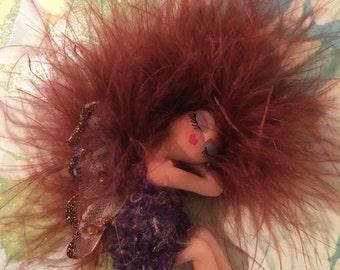 FAIRY, FAERIE, Handmade Polymer Clay Art Doll sleeping Rust & Brown