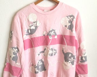Vtg. PINK CATS SWEATER All Over Print 80s Pull Over Sweatshirt / Size Large