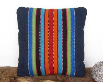 Holster cushion 16 x 16, Peruvian blue cushion, cushion striped ethnic, multicolor pad, pad of wool and cotton, Peruvian (40x40cm) CR-285