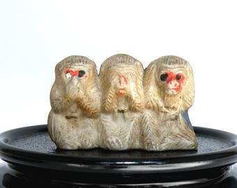 Three Wise Monkeys, Impressed Japan, See, Hear, Speak No Evil, Ceramic, Miniature, Hand Cold Painted, Mystic, Morality, Kitsch, Shabby