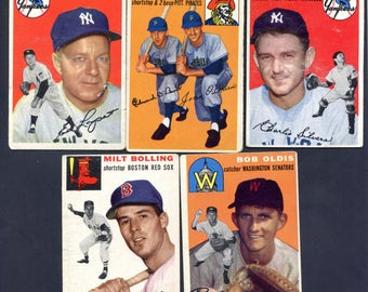 1954 Topps Baseball 5 Card Lot w/ Yankees and o'brien Brothers all Different See Scan