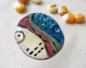 Landscape painted torch enameled recycled copper pendant