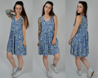 Spring | Small Medium | 1990s Little Blue Floral Dress 90s Mini Flower Print Vintage Sundress