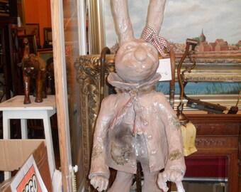90cm high papier-mâché rabbit Bunny of a Rostock artist, paper 90cm from a rostock artist