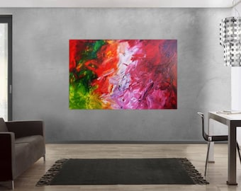 Original abstract artwork on canvas ready to hang 120x180cm #485