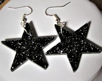 Starry Night Glitter Party Christmas Winter Black Star  Earrings