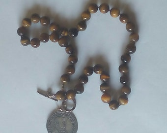 Tiger's Eye Necklace With Coin