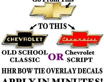 HHR  chevy bowtie pair - vintage - retro style overlays - decals , stickers , graphics