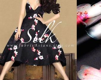 Black Silk Orchid Fabric - buy printed silk