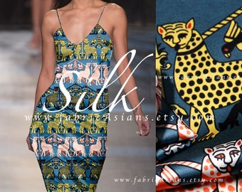 Fabric Africa Leopard Blue Silk Crepe