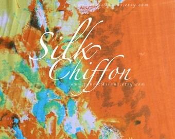 Orange Silk Chiffon Abstract fabric - achat mousseline de soie
