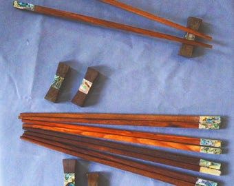 Handmade, Vietnamese Rosewood Chopsticks with Green Abalone shell accents and matching pillow top rests