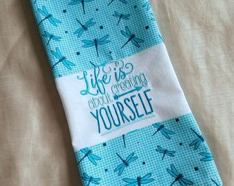 Embroidered Kitchen Towel,Embroidered Towel,Hand Towel,Inspirational Kitchen Towel,Blue KitchenTowel,Kitchen Hand Towel Gift,Ready to ship