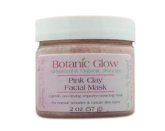 Pink Clay Facial Mask 2 oz - All Natural Sensitive Skin Clay Mask - Organic