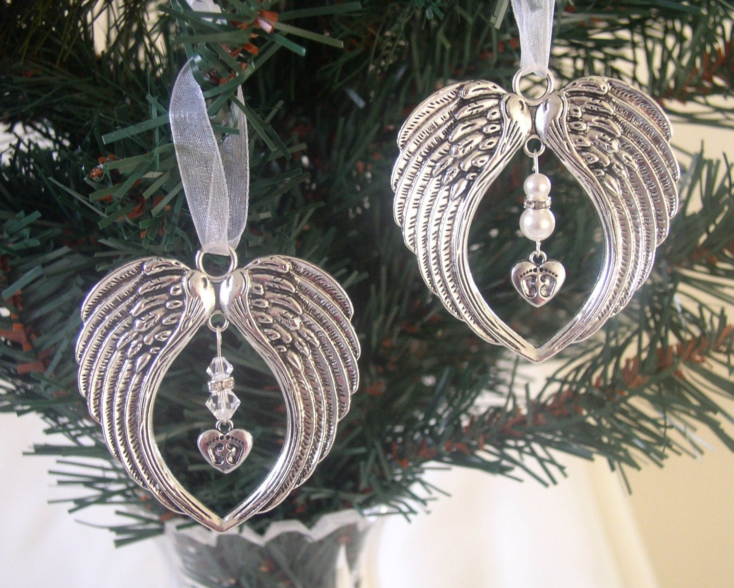 Memorial angel wing hanging christmas tree ornament baby for Angel of the north christmas decoration