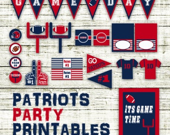 Patriots Football Party Printables and Decorations - Printable - 15 Pages in PDF Format - INSTaNT DOWNLoAD