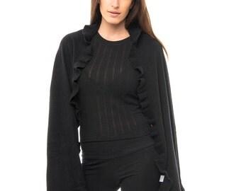 Black Cashmere Ruffle Wrap/Cashmere Ruffle Wrap/Black Cashmere Wrap/Pure Cashmere Ruffle Wrap