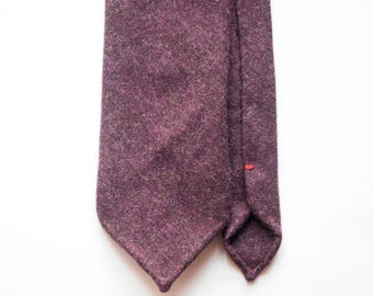Dark plum flanel wool hand rolled untipped tie
